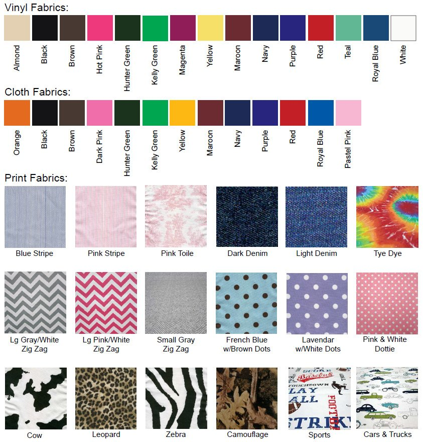 Fabric Swatches we use